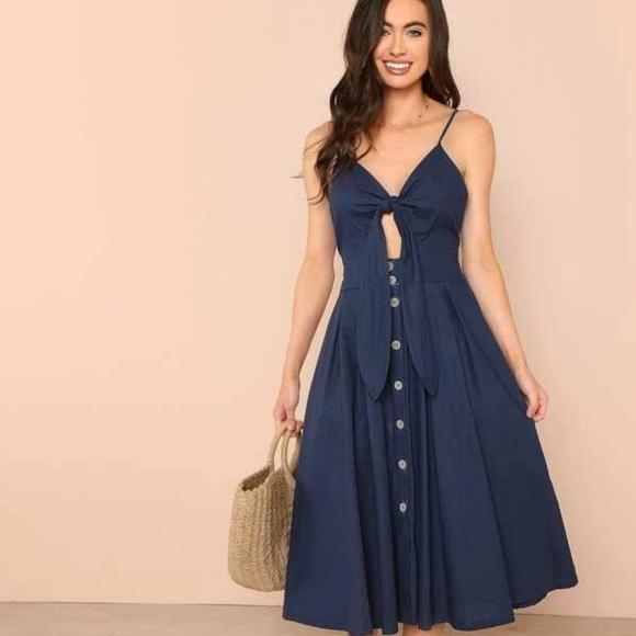 SHEIN Dresses & Skirts - SHEIN Bow Tie Button Through Peekaboo Cami Dress